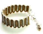 silver gray mustard yellow and gold-  soutache bracelet  free shipping