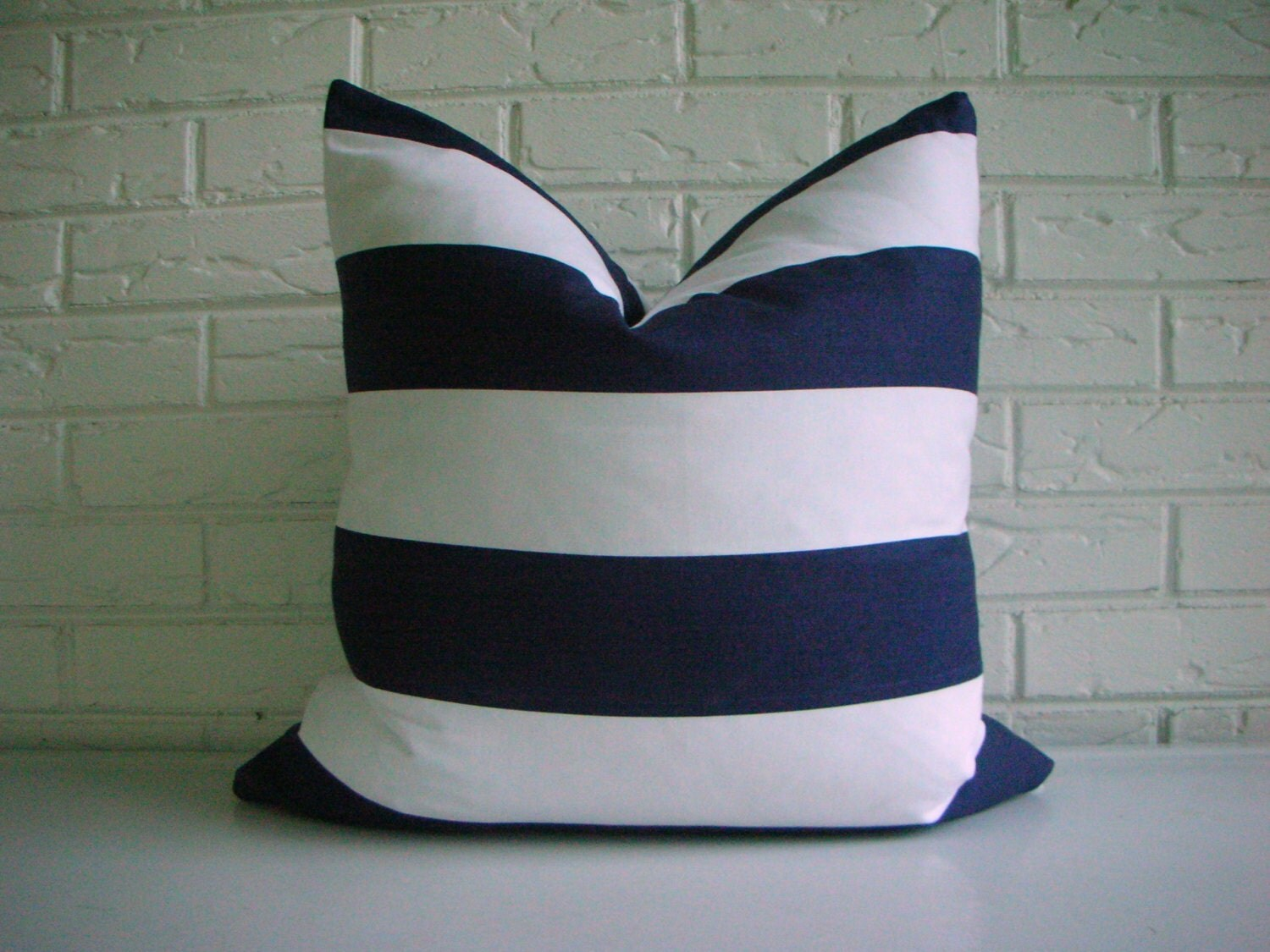 Navy And White Striped Throw Pillow : Navy and White Stripe Pillow Cover Nautical Throw Pillow