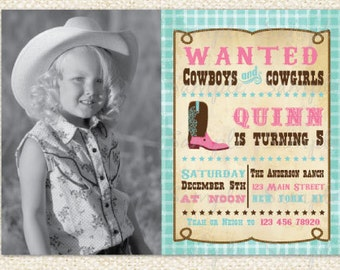 Cowgirl Birthday Invitations