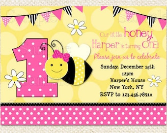 Pink Bumble Bee Birthday Invitations, Bee invitations, DIY Printable, first birthday