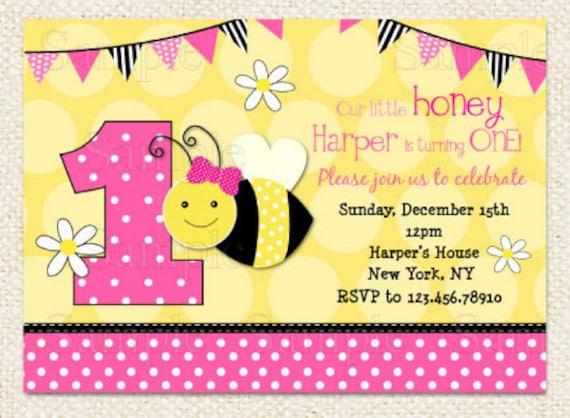 Pink Bumble Bee Birthday Invitations Bee invitations DIY – Bumble Bee Party Invitations