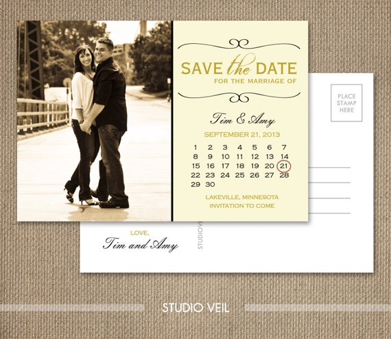 Save the Date - Personal Wedding Postcard - CALENDAR - Set of 100