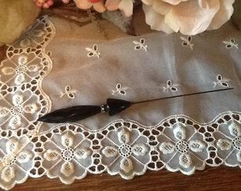 Hat Pin Sterling Silver Black Onyx & Rhinestones Victorian Circa Vanity Collectible