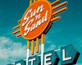 Vintage Motel Sign Photograph,  Sun and Sand, Typography, Fine Art Travel Photograph, Graphic Designer Gift, Guest Bedroom
