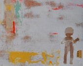 Small Painting Vintage Themed Ethereal Mixed Media on Board- Child with Dog- by Sarah Lapp