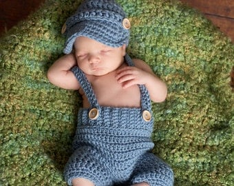 Oliver Newsboy Cap with Crochet Baby Shorts/Pants with Suspenders in Stonewash Available in Newborn to 6 Month Size- MADE TO ORDER