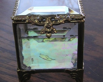 Glass Box, Silver, Stained Glass Jewelry Box, Keepsake Box, Ring Bearer Pillow Alternative, Mother's Day Gift