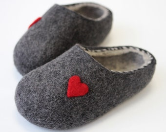 Hand Felted Wool Slippers in  Dark Gray  with  Light Gray inside. Christmas Gift. Size  EU - 38 ready to ship!