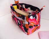 Bag organizer - organizer purse insert in Navy Blue, Pink,orange and white floral print