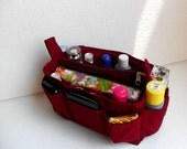 Bag organizer - Purse organizer insert in Merlot fabric