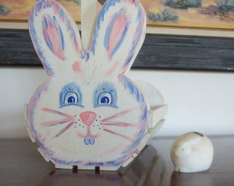 On Sale Vintage Handmade Bunny Rabbit Egg Carrying Container Hand Painted Jolly Easter Rabbit Egg Holder