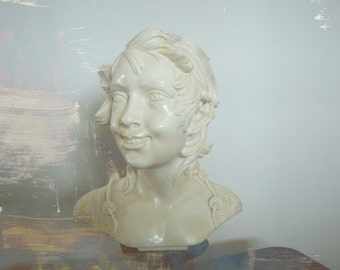 Vintage Home Decor Antique Shop Classic Bust Sculpture Signed Halloween Decor
