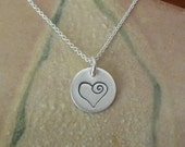 Heart Necklace - Single 11mm Disc Hand Stamped - Finish Options - Valentine Gift