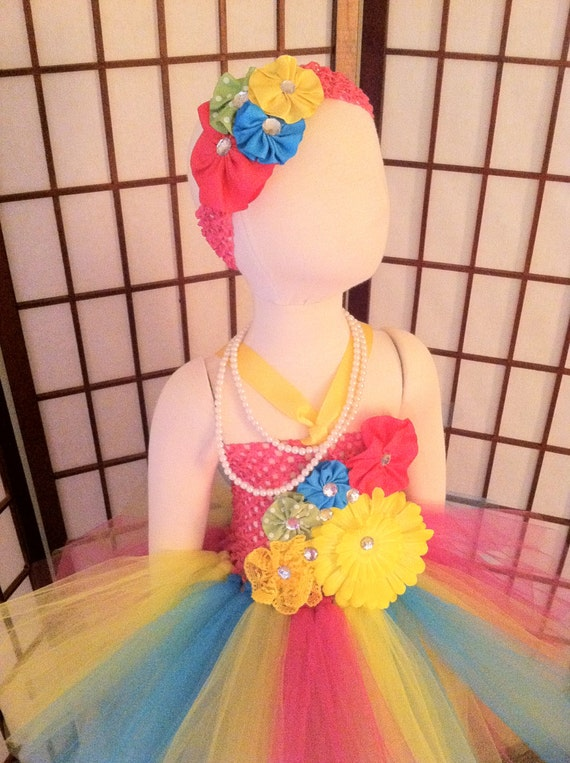Tutu dress Lime green and Hot pink mix color and headband, birthday, party, photo props, portraits, pageant