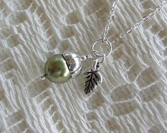 Tiny Acorn Necklace - Green