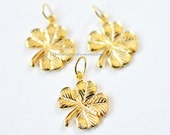 One 18kt Gold Vermeil 4 Leaf Clover Charm with a Closed Jump Ring 12 x 12mm