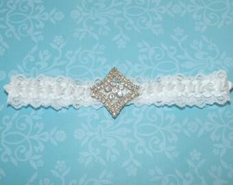 SALE - White Satin Ribbon Garter White Lace Garter Rhinestone Garter Bridal Garter Wedding Garter - Ready To Ship
