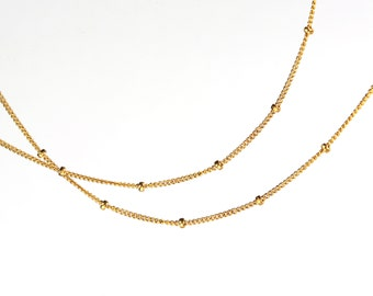 Petwa. Layering Necklace. Single Strand of Delicate Gold Filled or Sterling Silver Satellite Chain. Up to 36 Inches.