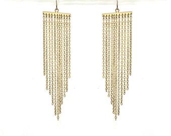 Long tassel earrings. Chevron triangle chain earrings 18k gold plated jewelry, long gold earrings
