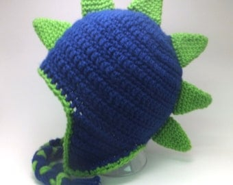 YOUTH Green and Blue Dinosaur Hat or Dragon Hat, Crochet Dragon Hat, Girls dinosaur hat, Boys Dragon hat, Girl Dragon Hat, Boy Dinosaur Hat