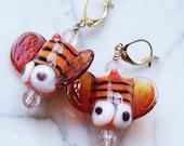 Halloween Pair of Handmade Lampwork Bumblebee Earrings Orange and Black light amber transparent wings.