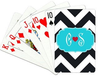 Personalized Playing Cards with Monogram - Chevron Poker Cards - Bridge Cards