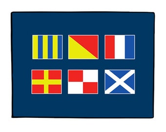 Personalized Doormat with Nautical Flags - Personalized Welcome Mat - 4 sizes to Choose From