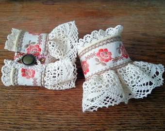 Boho Cuffs Pair Vintage Trim Lace Piping Hand-Crocheted Loop and Button Closure
