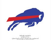 """Buffalo Bills 3D Emblem wall art - 16"""" wide - blue and red with rust patina - steel"""