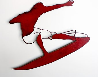 "Surfer metal wall art - 17"" wide surfer dude - wall hanging painted red rusted steel - choose your color - metal surfer art"
