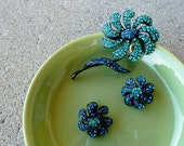 Reserved for Deidre Vintage Weiss set rhinestone Flowers Brooch and Earrings figural designer jewelry parure