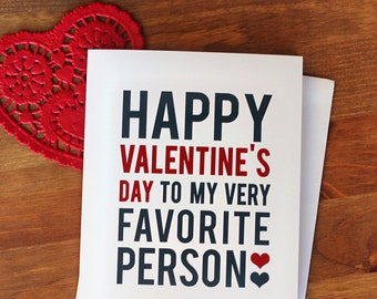 VALENTINE'S DAY CARD - Very Favorite Person - Red and Grey Typography Valentine Card and Envelope