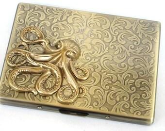 Steampunk - Metal Octopus Cigarette Case - Slim Wallet - Large Card Case - Antique Brass By GlazedBlackCherry S2