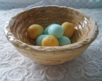 Bird nest Soap Dish Ceramic Nest with Bird Egg Soaps