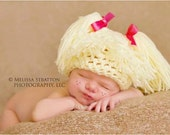 0-3   newborn baby Cabbage patch kids inspired  crochet  hat  baby girl  boy girl photo props photography