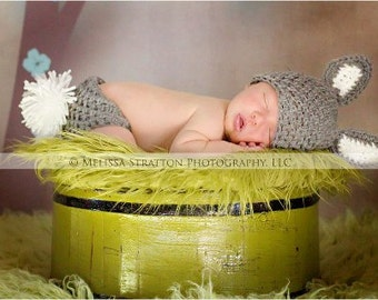 Baby  bunny newborn 0-3 3-6 6-12 choose size  photo prop hat  diaper cover set Newborn winter wear easter photography