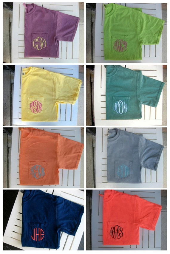 monogrammed pocket short or long sleeve tee by hadleyandfinn