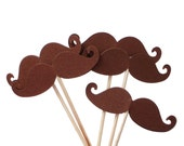 24 Brown Mustache Party Picks, Cupcake Toppers, Food Picks, Toothpicks, Drink Picks - No136