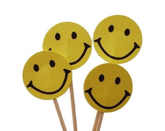 24 Smiley Happy Face Cupcake Toppers - Birthday Party Decorations - No968