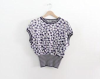 1980s floral print blouse