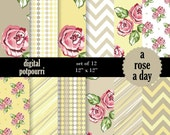 buy2get1 buy2get1floral digital paper pack  - a rose a day  12 scrapbooking paper