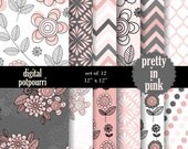 buy2get1 floral digital paper pack - pretty in pink - 12 digital papers