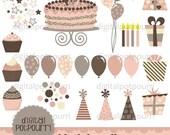 buy2get1 birthday clipart - 25 pc set - pink