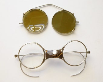 REDUCED 1920's STEAMPUNK goggles-glasses with clip on shades
