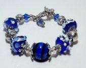 Blue and White Lampwork Bracelet
