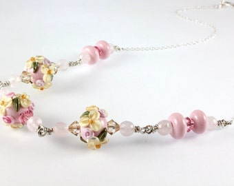 Lampwork Necklace, Floral, Sterling Silver, Easter, Spring