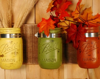 Fall Fiesta mason jar wall decor, Fall decoration, kitchen wall, bathroom decor, Shabby chic, country home, country kitchen, painted jars