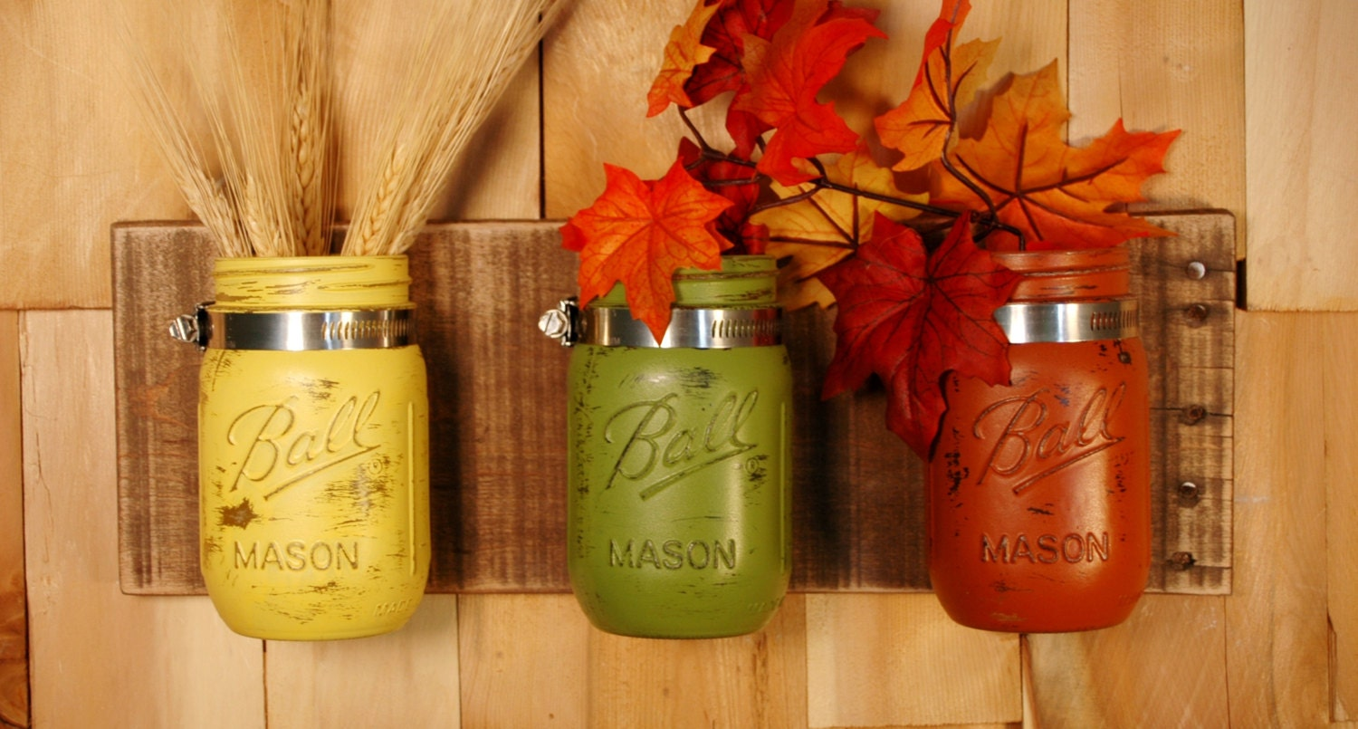 Fall fiesta mason jar wall decor fall decoration kitchen for Mason jar kitchen ideas