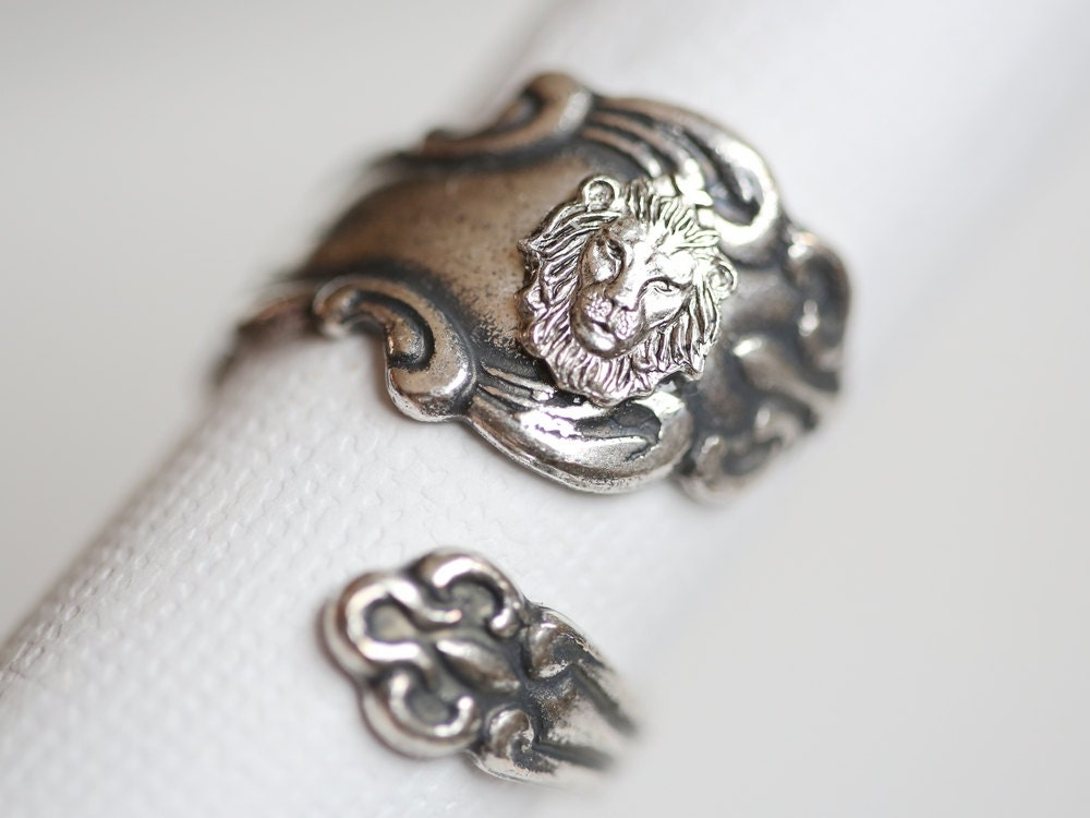 Antique Spoon Ring Silver Lion Ring Jewelry Gift Silver