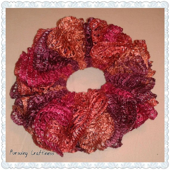 Items similar to Autumn Evening Ruffle Crochet Hair Scrunchie, RTS ...